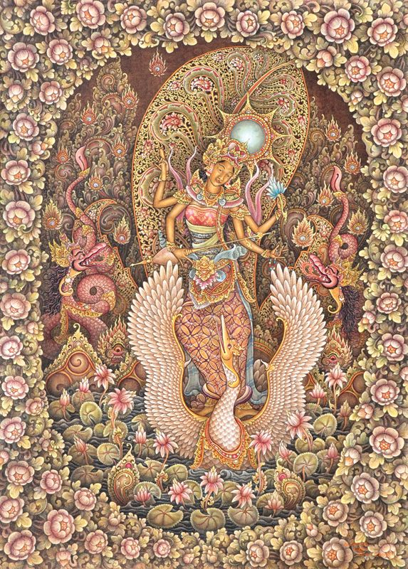 Saraswati - Balinese painting by I Made Wiradana (1968)