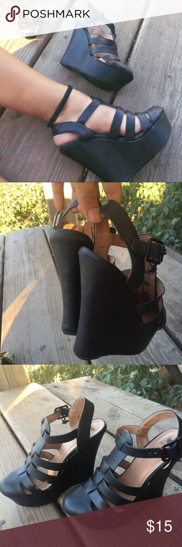 Black closed toe wedges!  Super adorable black wedges! Bought them for a bar tending job since I needed black shoes to serve but they ended up being a little too tall! Only worn once. Bought from Sheikh for $45. Size 8.5. These are tall, I'd guess at least 5 in maybe 6. Sheikh Shoes Wedges