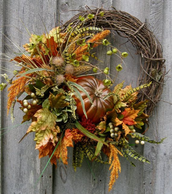 Fall Wreath, Autumn Wreaths, Thanksgiving, Harvest,  Pumpkin Wreath, Elegant Fall Floral, Elegant Holiday Wreath on Etsy, $169.00