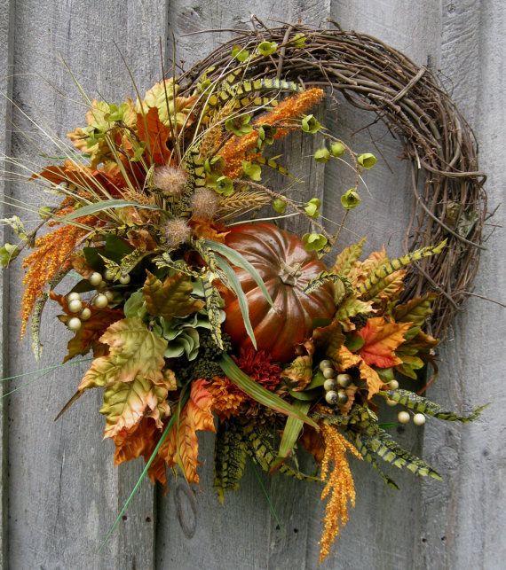 Fall Wreath, Autumn Wreaths, Thanksgiving, Harvest, Pumpkin Wreath, Elegant Fall Floral, Elegant Holiday Wreath on Etsy, $169.00