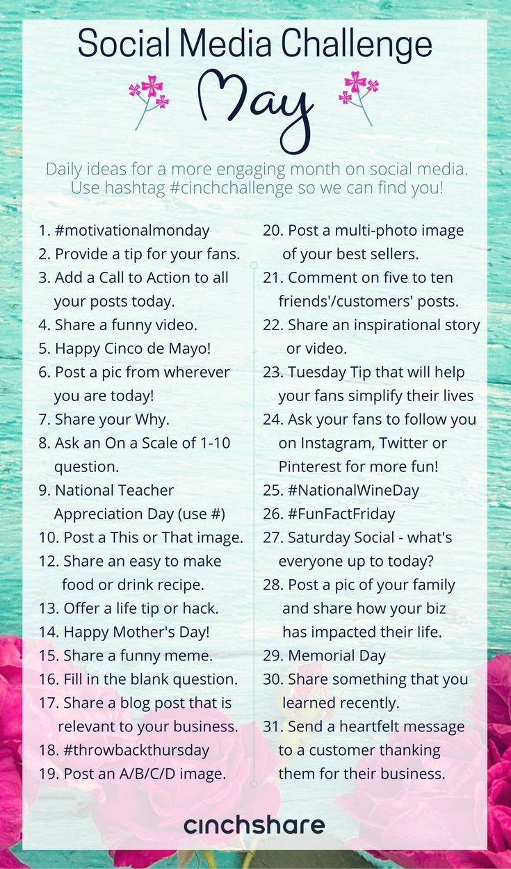 May Social Media Challenge - CinchShare Blog