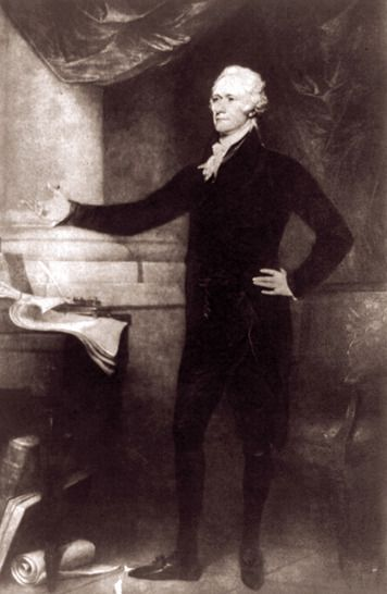 American artist John Trumbull painted  this portrait of Alexander Hamilton.  Hamilton rose from poverty to lead the  Federalist Party. His brilliant career was  cut short when he was killed in a duel  with Vice President Aaron Burr, whom  he had accused of being a traitor.