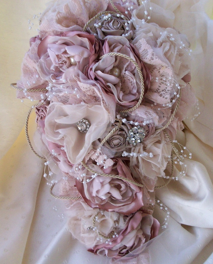 Vintage Inspired Shabby Chic Fabric Wedding Bouquet/ Bridal Bouquet with Pearls and Crystals. $250.00, via Etsy.