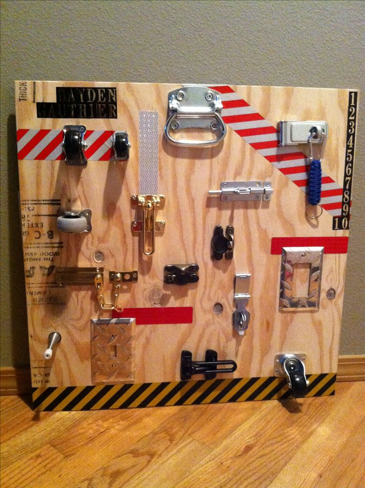 DIY lock board me and my future husband made for our son! Thanks Pinterest for the idea :)