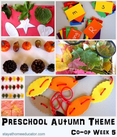 Autumn Themed Preschool Activities Including leaf lacing, leaf print salt dough, the Bang Game and more!