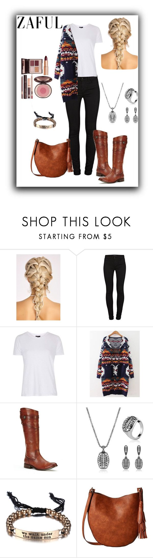 """""""ZAFUL"""" by armsdani ❤ liked on Polyvore featuring J Brand, Topshop, Frye, Gabriella Rocha and Charlotte Tilbury"""