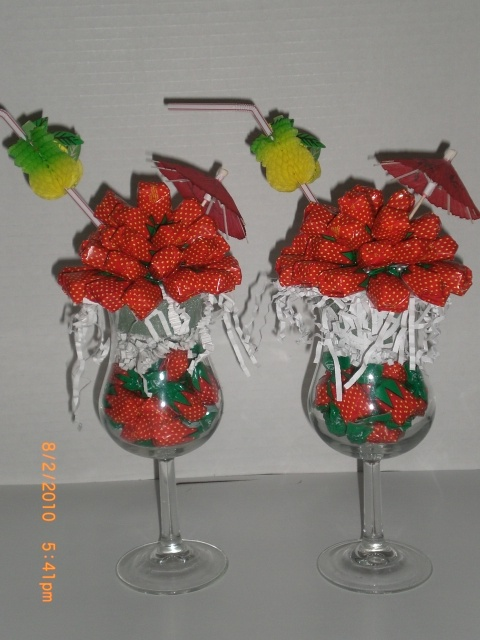 candy bouquets -  could use real strawberries and striped straws