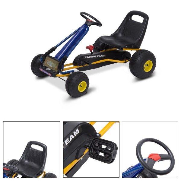 Presentamos un kart infantil para que tus hijos/nietos/sobrinos se lo pasen en grande. Es apto para niños de 3 a 8 años ya que es ajustable. Es un modelo muy seguro y permite a los más peques sentirse como una carrera. Funciona con pedales y un volante que permite controlar la dirección.  Puedes comprarlo online en https://www.aosom.es/juguetes-ocio/go-kart-karts-coches-de-pedales-para-ni-os-de-3-a-8-a-os-normativa-en-71.html con envíos gratis a España y Portugal en 24h/48h.