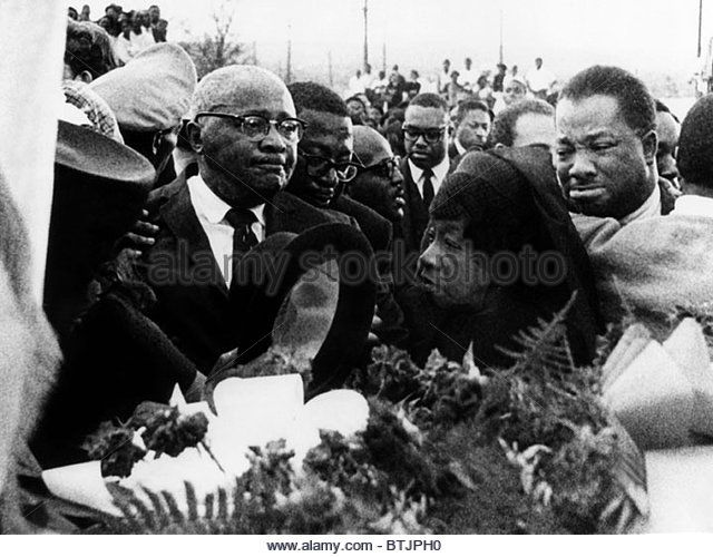 A mourning Reverend Martin Luther King Sr., Alberta Williams King, and A.D. King, at the funeral for Dr. Martin Luther King, Jr.  Stock Image