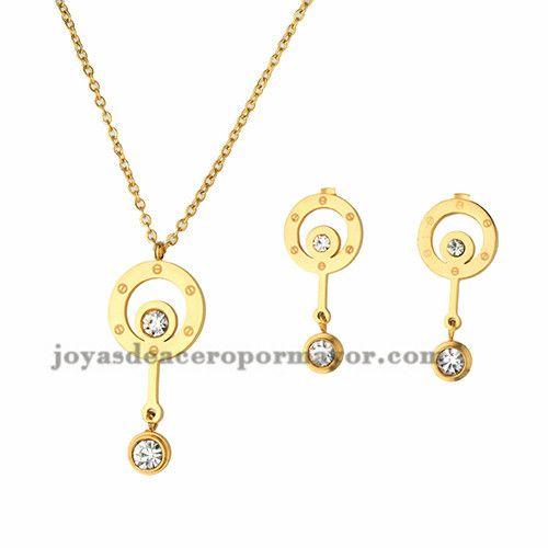 juego collar y pendientes de circulo especial en acero dorado inoxidable para…