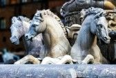 Detail of horses of the Neptune fountain, in Florence, Italy  The fountain was commissioned in 1565 and is the work of the sculptor Bartolom...