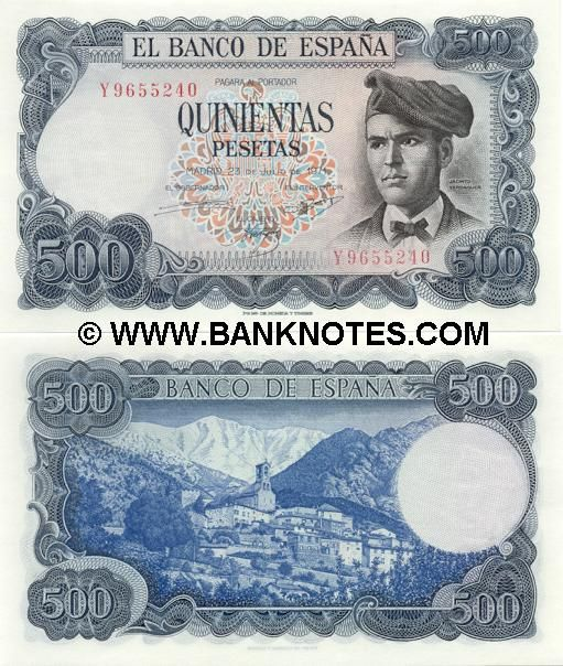 spain currency | Spain 500 Pesetas 1971 - Spanish Currency Bank Notes, Paper Money ...