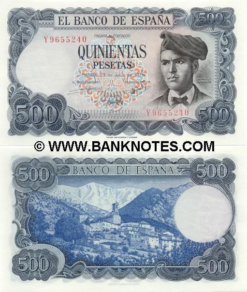 Moneda de España | España 500 pesetas 1971 - Español Billetes de la moneda, papel moneda