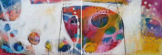 IMPRESIÓN de la pintura abstracta blanco amarilla azul