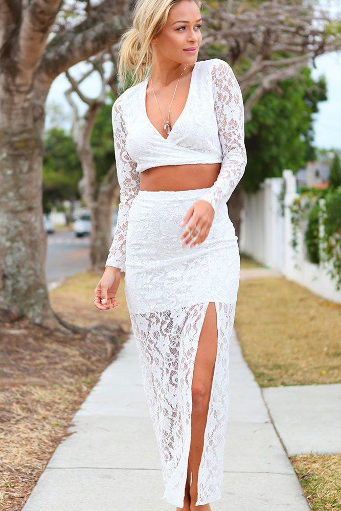 White Long Sleeve Fetish Lace Skirt Set AU$75