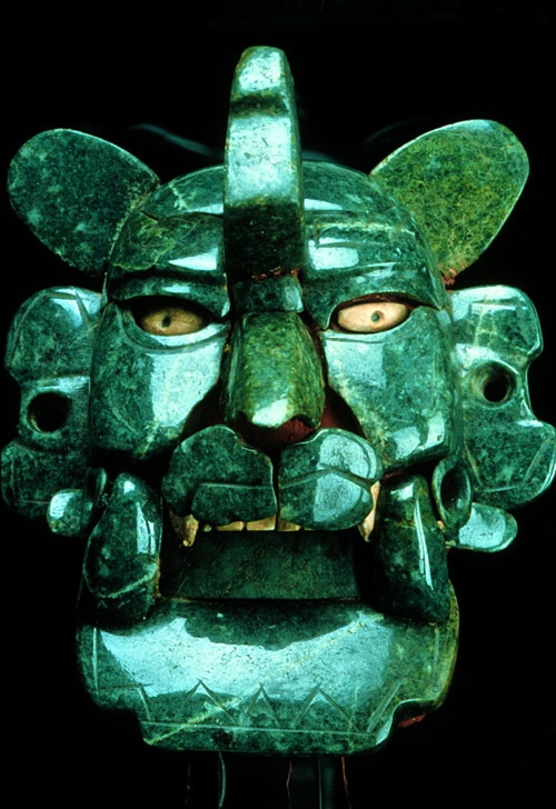 Zapotec jade and shells mask, ca. 200 BC - 100 AD, Monte Albán, Mexico.