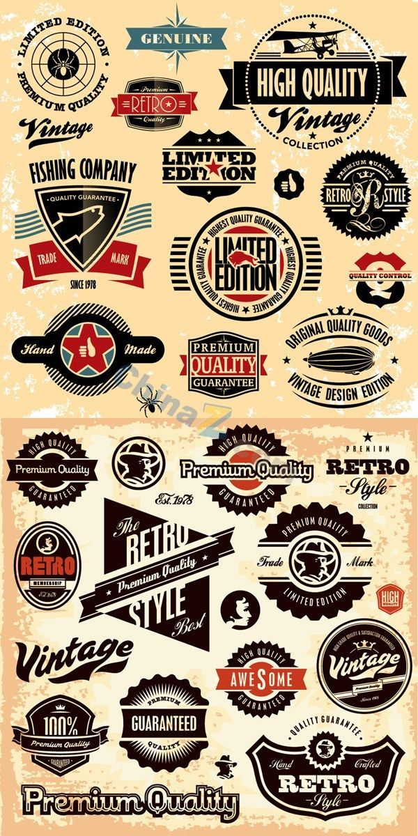 Typography Free Download Retro Label Stickers And Badges Vector Category Vector Concept Codesign Magazine Daily Updated Magazine Celebrating Creati Vintage Logo Design Retro Logos Vintage Logo
