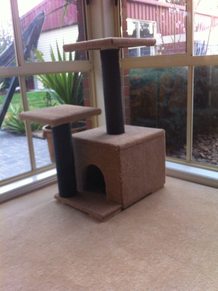 Kitty cat scratching post. Made from PVC pipes, chipboard, rope and left over carpet! Kitty loves it!