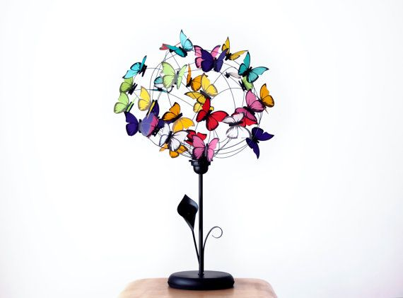 Table lamp with paper butterflies Arum by AtLastCraftsbyMatchD