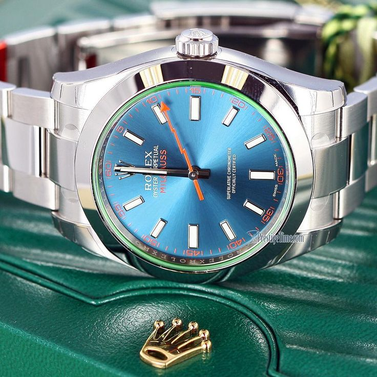 #Rolex #Milgauss #OysterPerpetual #watch in stainless steel with a #blue dial & #green crystal. Screw down crown& water resistant 100m, 40mm in diameter. This #wristwatch is Rolex reference #116400GV Unworn condition. Click on image for Special Pricing. (factory protective stickers visible in image). #antimagnetic #magnetism #emfresistant #emf