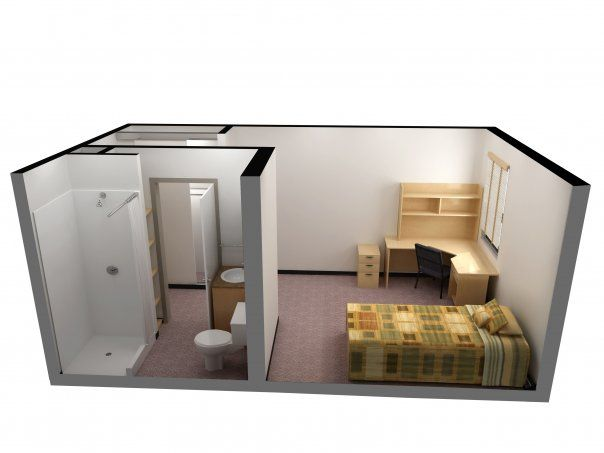 A 3D floorplan of a unit in International House at UAlberta.