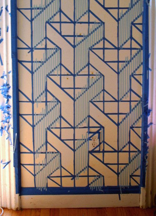 geometric wall designed with painter's tape
