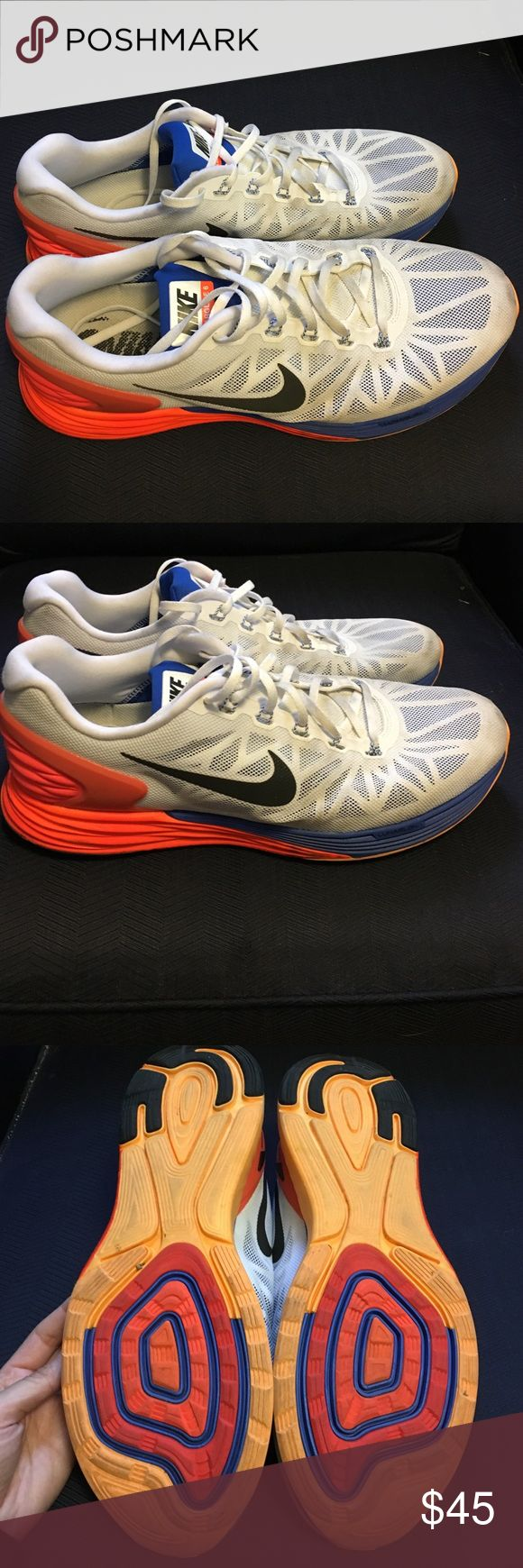 Men's Nike Lunarglide 6, size 12 Very good condition--used indoors only for workouts. Still nice and white and soles in great shape for more use! Nike Shoes Sneakers