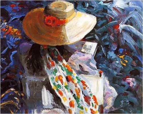 Salvador Pèrez Bassols (Espanha 1948) Mulher com chapéu lendo