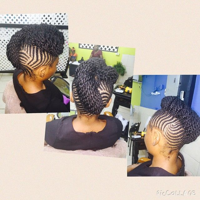 All her hair no extensions added #NaturalHair #blackhair #cornrows #updo #mohawk…