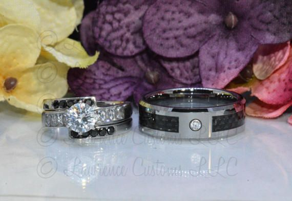 3 pc. Black Wedding Set For Her Stainless Steel 2.30 ct. CZ