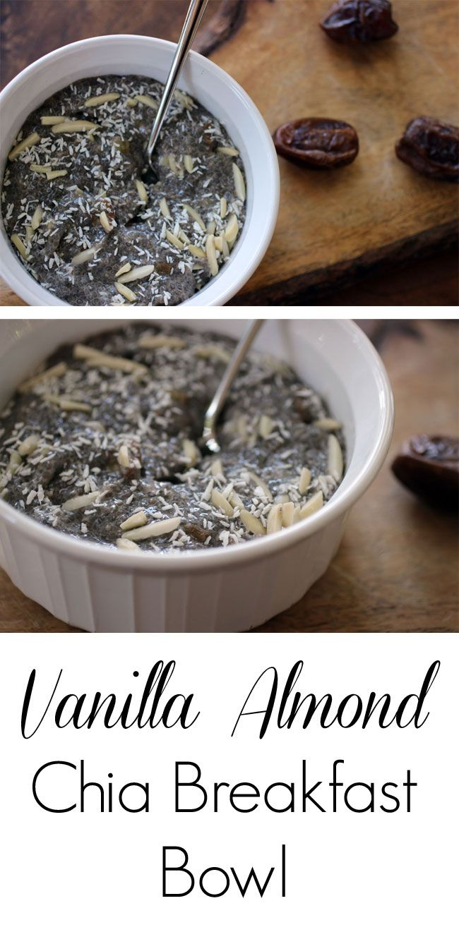 A delicious, nutrient-dense, real-food breakfast featuring chia seeds, almond milk, almonds and dates. Dairy-free and paleo friendly.