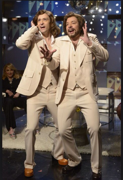 I can't breathe from laughing when they show reruns of this SNL skit of JT and Fallon doing the Bee Gees.