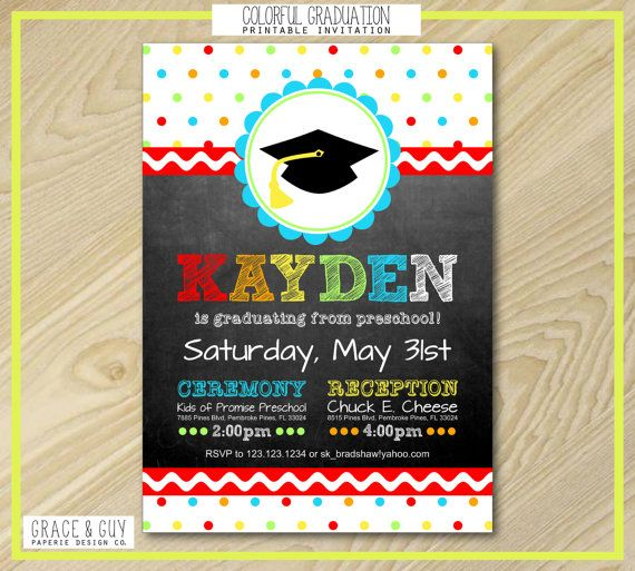 23 best Kindergarten graduation invitations images on Pinterest