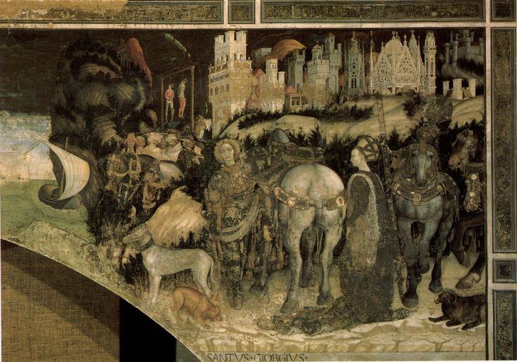 Pisanello ~ Sint Joris en de prinses van Trebizonde (rechterzijde) ~ ca. 1436-1438 ~ Fresco ~ 223 x 620 cm. ~ Capella Pellegrini, Sant' Anastasia, Verona