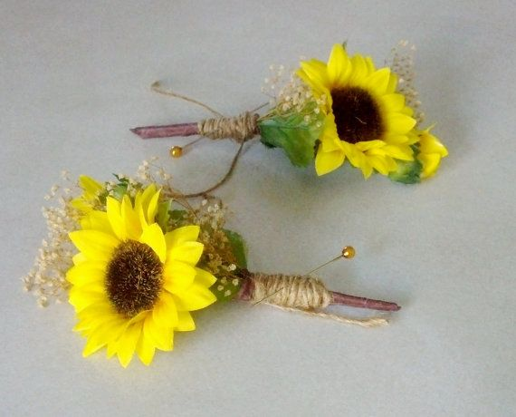 Sunflower Wedding Flowers Mens by BudgetWeddingBouquet on Etsy