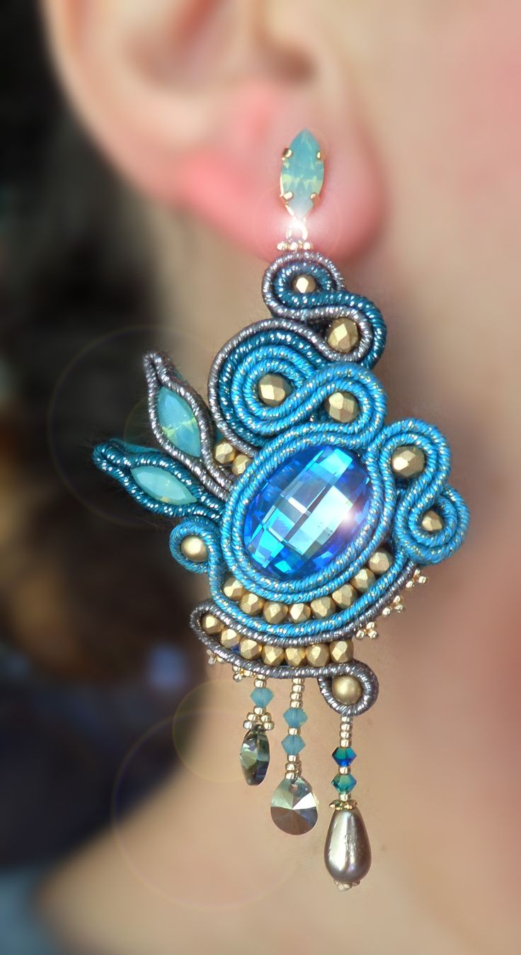 Earrings by Serena Di Mercione --- soutache and swarovski