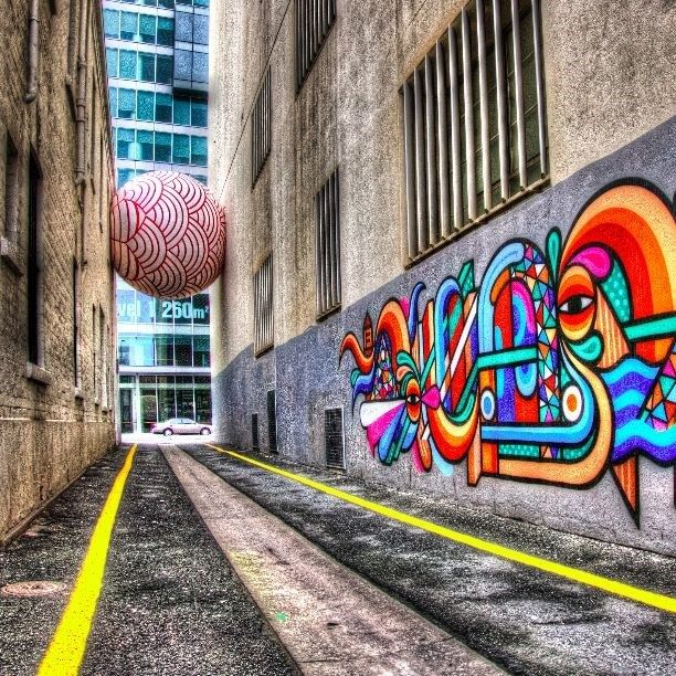 Adelaide street art... and a giant inflatable ball... #CaptureTheCover #Sponsored