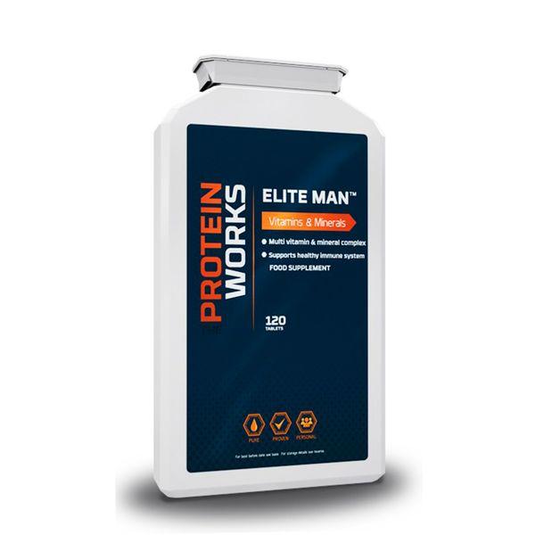 Elite Man™ Super Multi-Vitamin - The Protein Works - Benefícios Chave - Desenhado para atletas de elite. - Mistura ideal de vitaminas e minerais. - Apoio fundamental ao teu sistema imunitário.