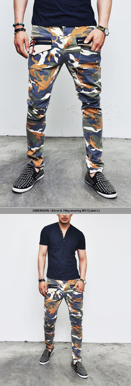Bottoms :: Pants :: Zippered Pocket Camouflage Slim Baggy-Pants 74 - Mens Fashion Clothing For An Attractive Guy Look