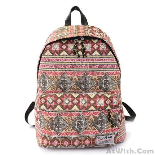 Harajuku Folk Style Elephant Geometry Printed School Bag Travel Backpack Rucksack