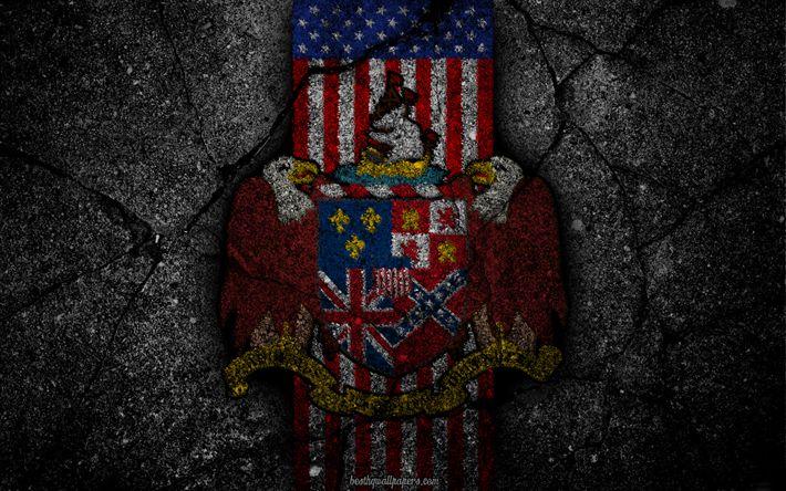 Hämta bilder Alabama statsvapen, grunge, Alabama symbolik, Coat of arms of Alabama, Amerikanska flaggan, Alabama vapen, USA