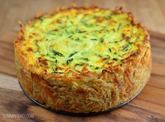 Slimming Eats Spiralled Zucchini Quiche - gluten free, dairy free, paleo, Whole30, Slimming World and Weight Watchers friendly