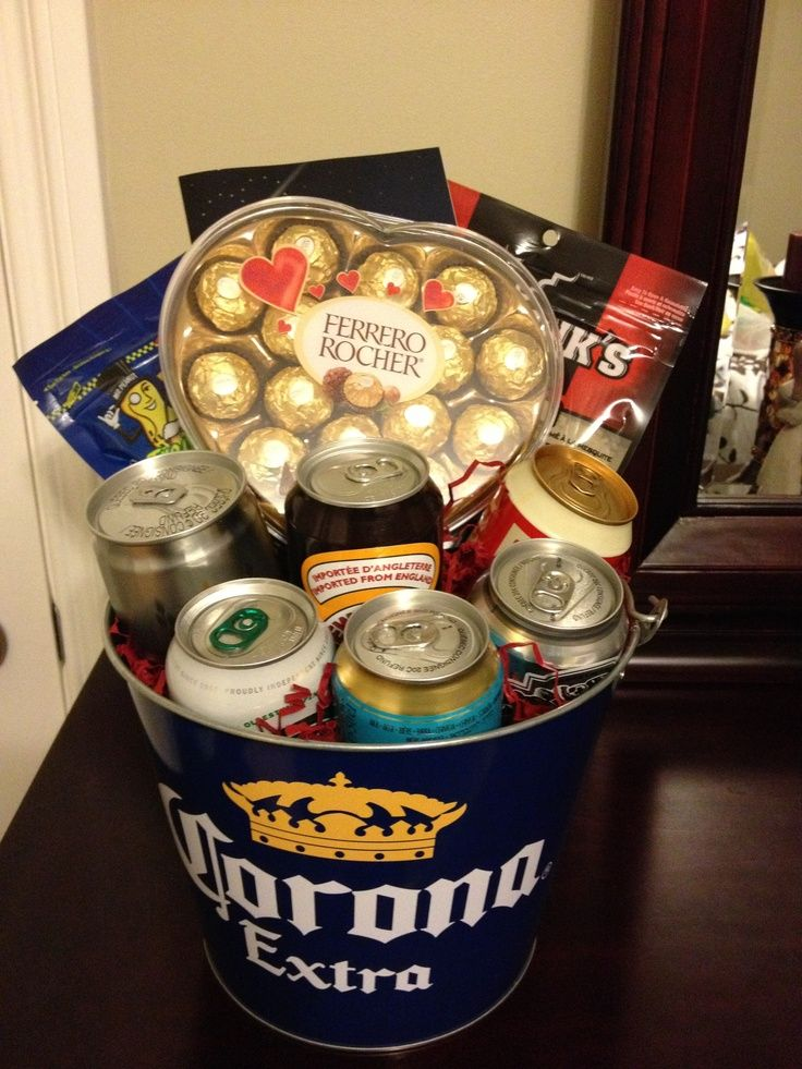 Beer bucket gift basket for men! A great idea for Valentine's Day!