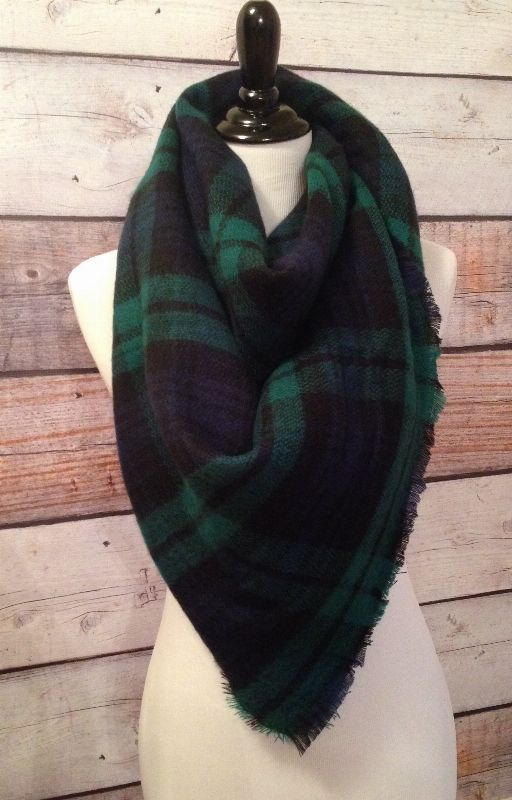 Green/Blue/Black Plaid Cashmere Blanket Scarf www.royalravenboutique.com