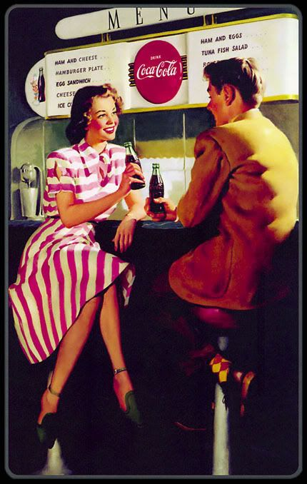 Coca-Cola vintage ad #cocacola Soda fountains at every drug store!