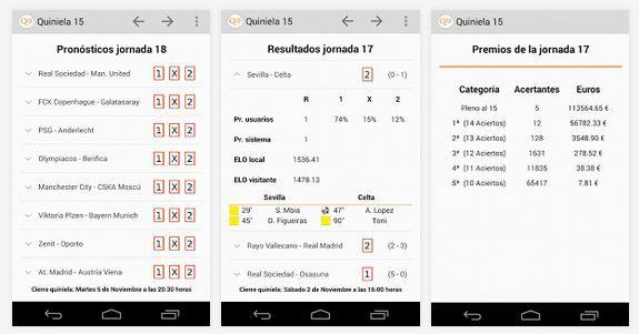 Quiniela 15 Android: Producto propio. Aplicación para pronósticos y resultados de la Quiniela de fútbol española.