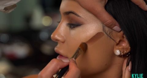 """5. Use a darker foundation stick to contour. Foundation is a good substitute for a contouring product. Kylie doesn't need too much """"correctional contour,"""" Achemyan says, so she uses the Bobbi Brown Foundation in """"Chestnut"""" to enhance her features instead."""