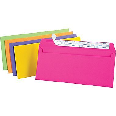 """Staples® QuickStrip™Neon Brights Color Envelopes, #10, Assorted, 4 1/8""""H x 9 1/2""""W, 50/Pack"""