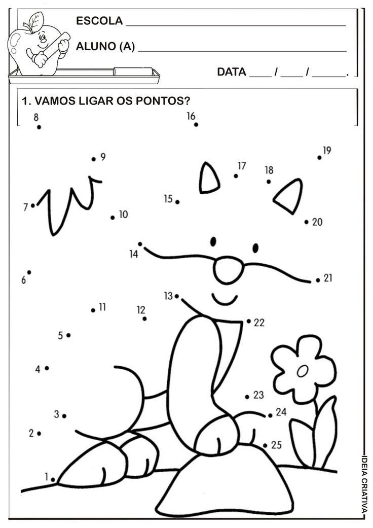Matemática Infantil: Atividade Liga Pontos Temática Animais