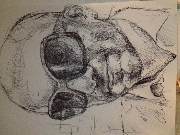 Alex Gray - black pen drawing by Chiara Nardo